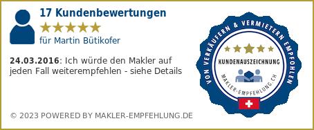 Qualitätssiegel makler-empfehlung.ch für Martin Bütikofer