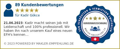 Qualitätssiegel makler-empfehlung.ch für Kadir Gökce