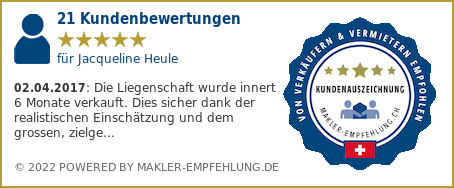 Qualitätssiegel makler-empfehlung.ch für Jacqueline Heule