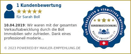 Qualitätssiegel makler-empfehlung.ch für Sarah Boll